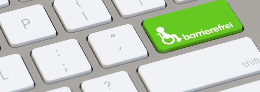 Barrierefreihei im Internet: Laptop Tastatur mit Schriftzug barrierefrei