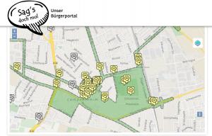 Ideenkarte Lampertheim. Auf dieser Karte wurden alle Ideen festgehalten, die im Rahmen eines Stadtteilspaziergangs benannt wurden. Zusätzlich konnten Ideen nachträglich auf der Bürgerbeteiligungsplattform der Stadt Lampertheim (sags-doch-mol.de) eingetragen und kommentiert werden.