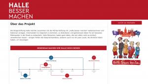 """Screenshot der Beteiligungsplattform von """"Halle besser machen"""". Die Online-Beteiligung wurde in Kooperation mit der wer denkt was GmbH umgesetzt."""
