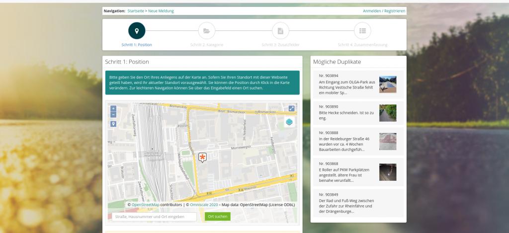 Screenshot Mängelmelder Plattform